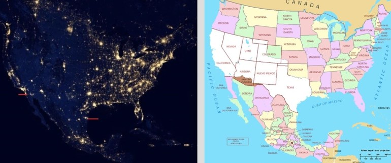 Left: Satellite image of North America (Source: Earth at Night 2012). Right: Map of North America featuring the lands ceded by Mexico in 1842 to the United States (Image source: Wikipedia).