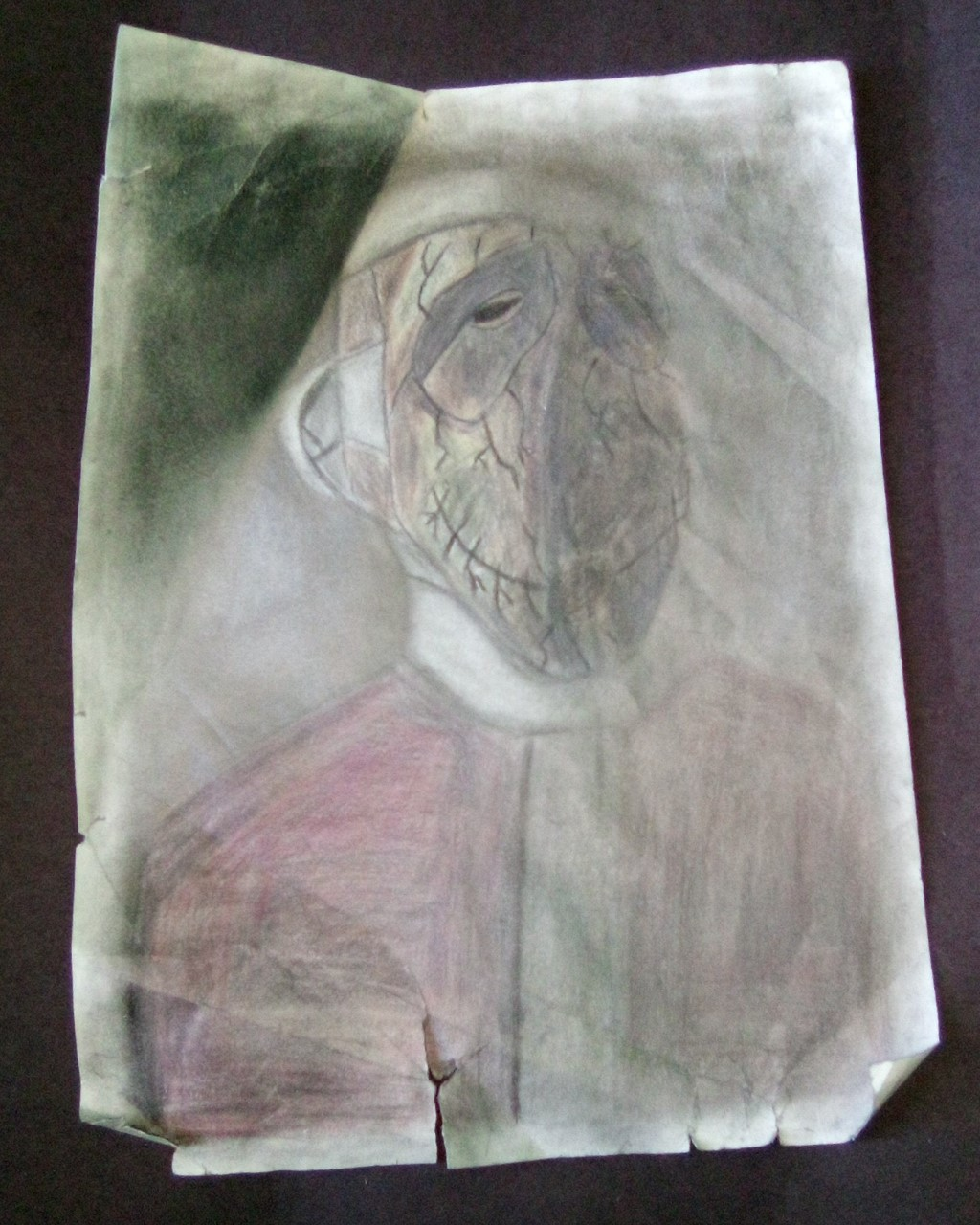 abstract portrait in chalk