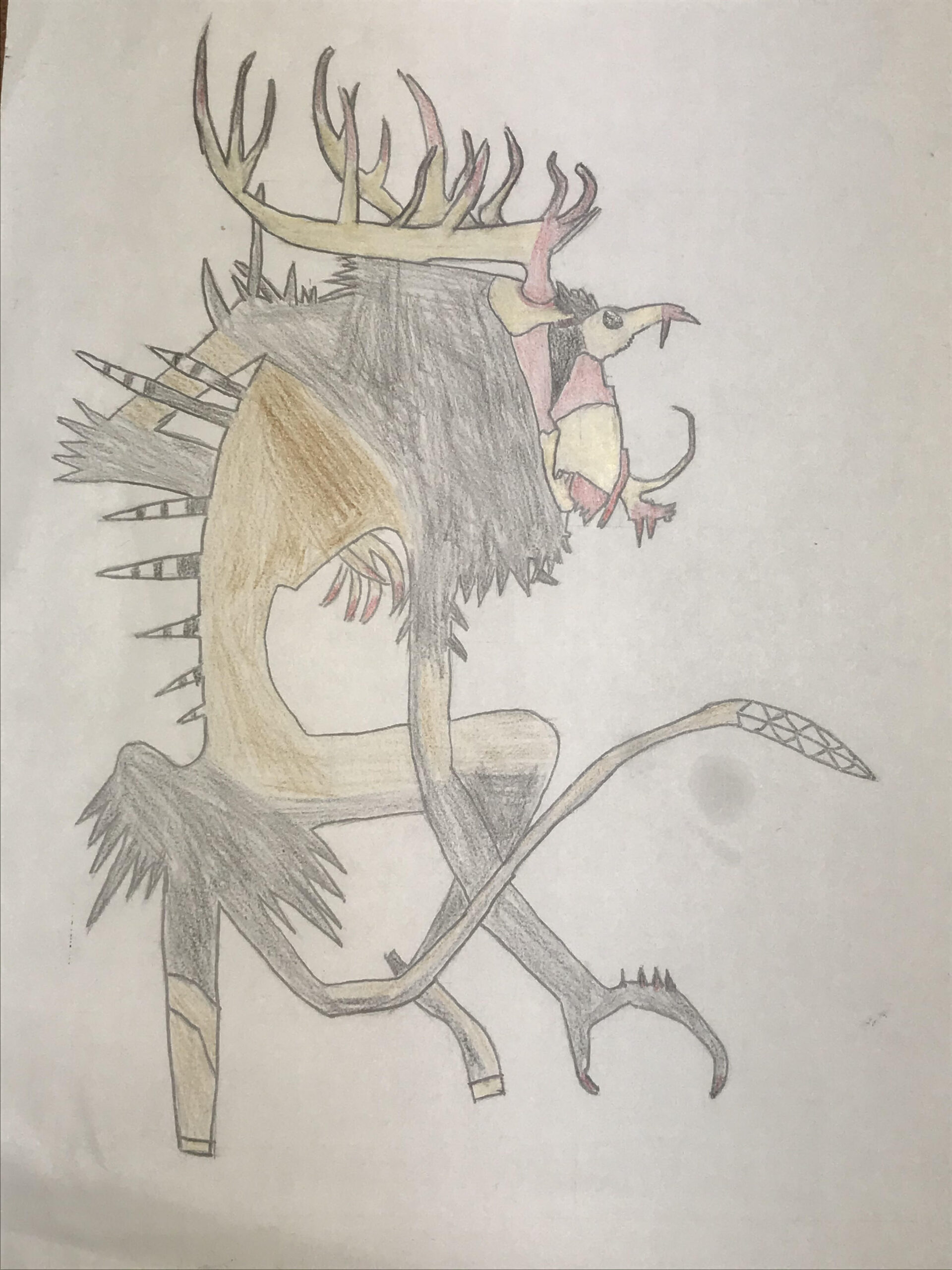 pencil drawing of mythical creature