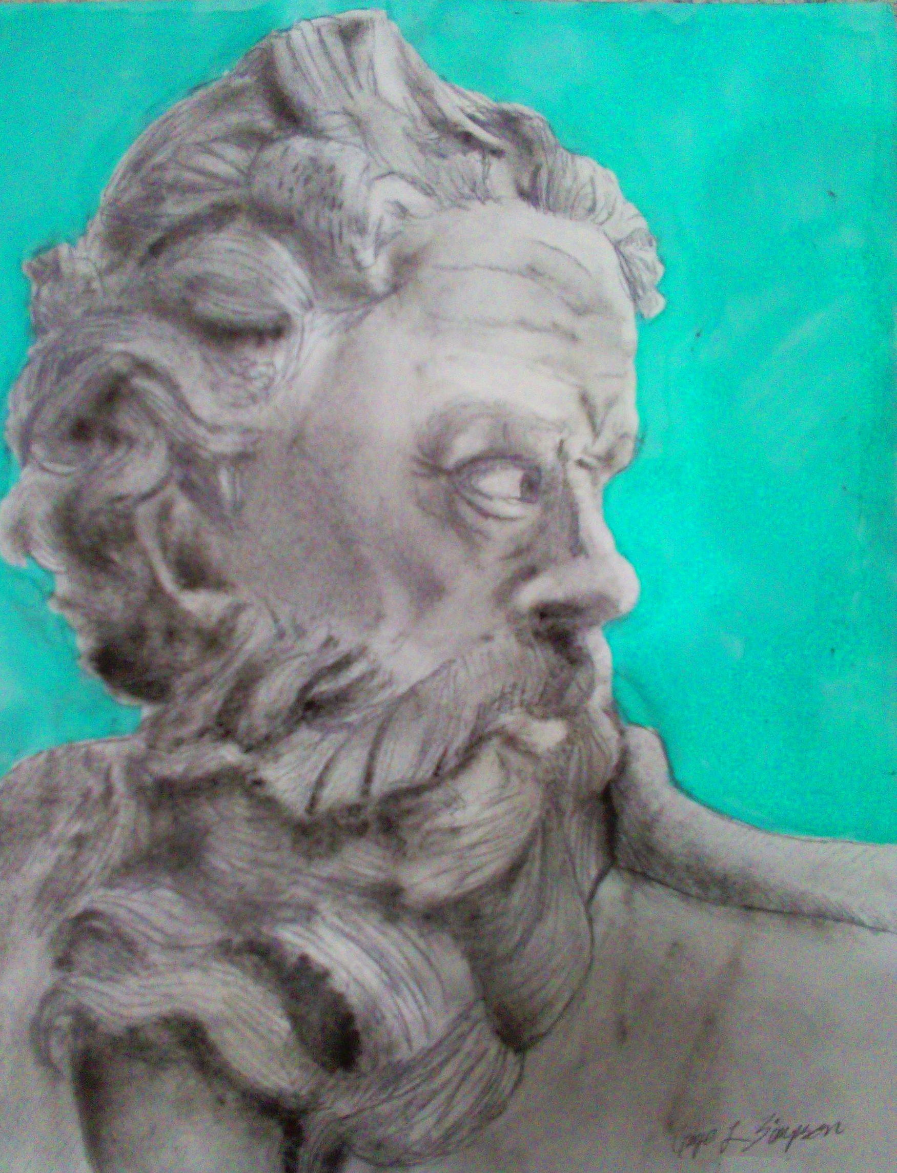 Drawing of man in profile