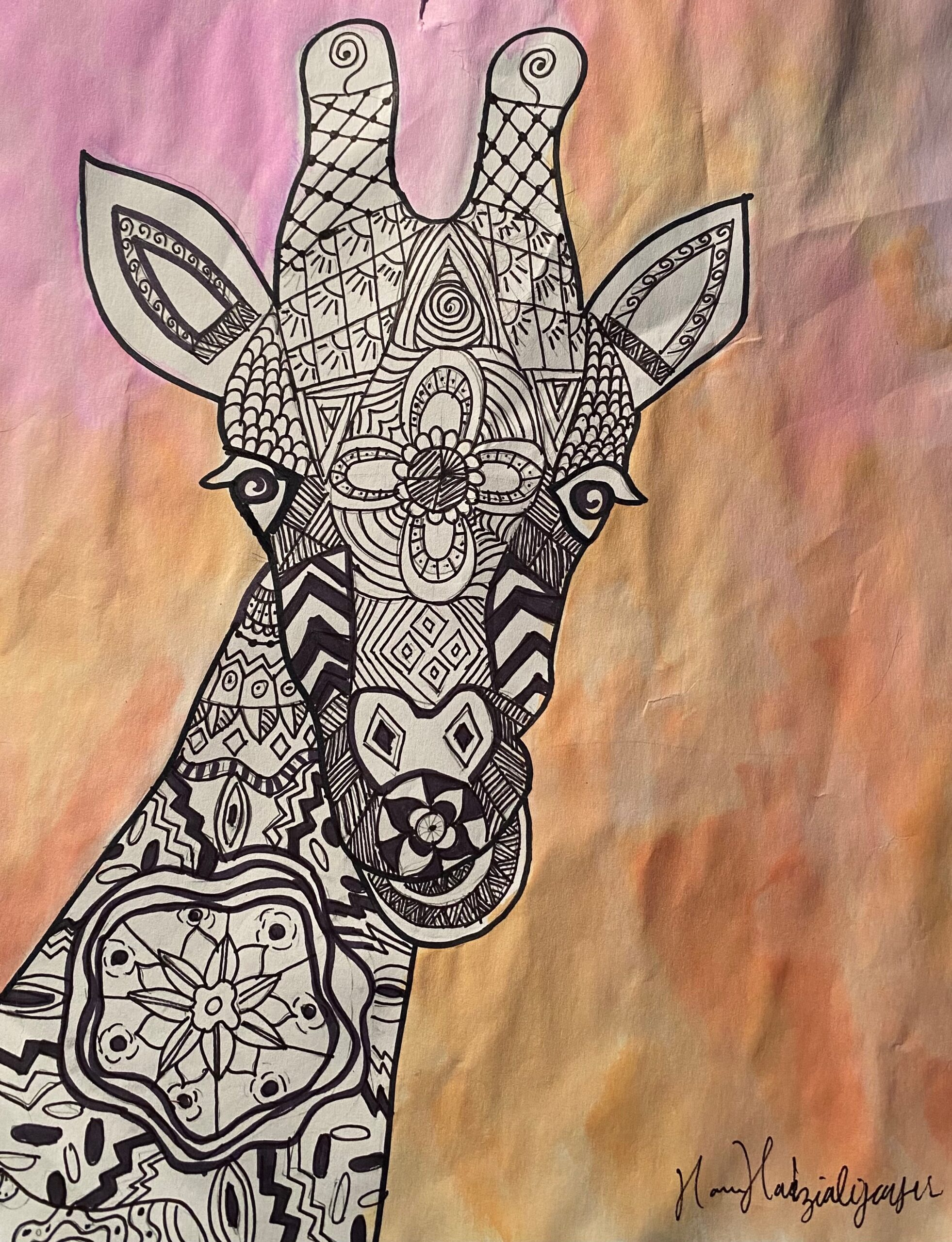 abstract pen and watercolor drawing of giraffe