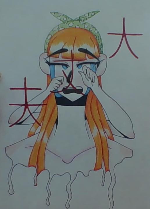 drawing of cartoon girl melting