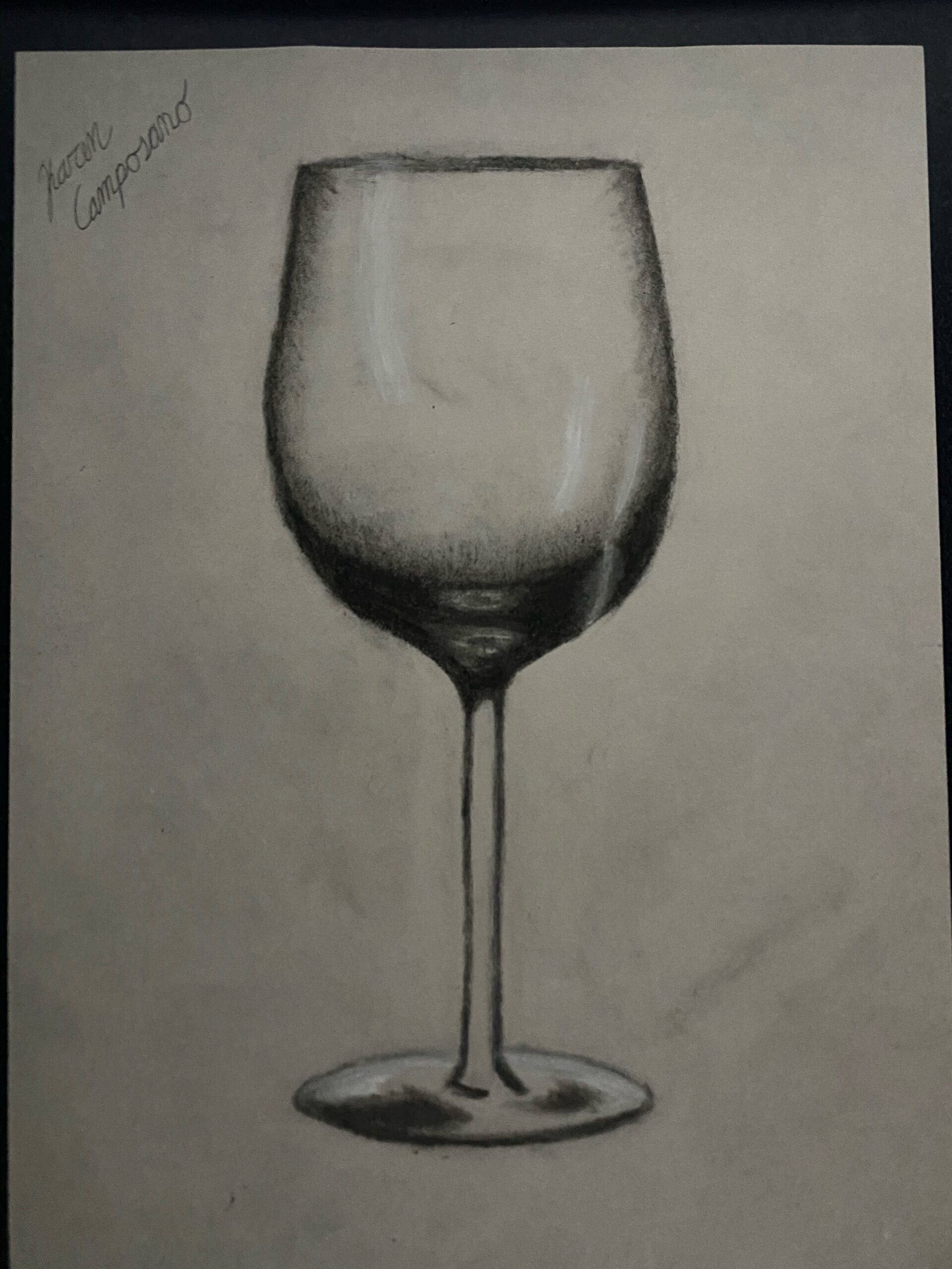 wine glass drawn in charcoal