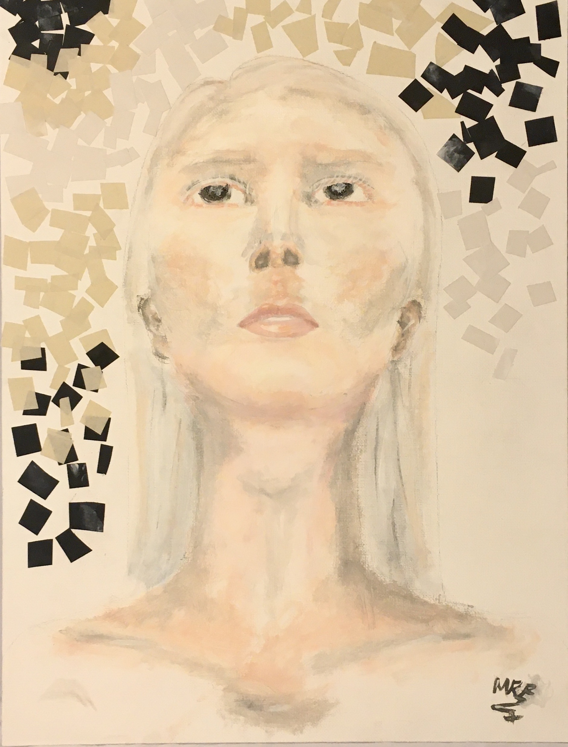 portrait in watercolor and mixed media