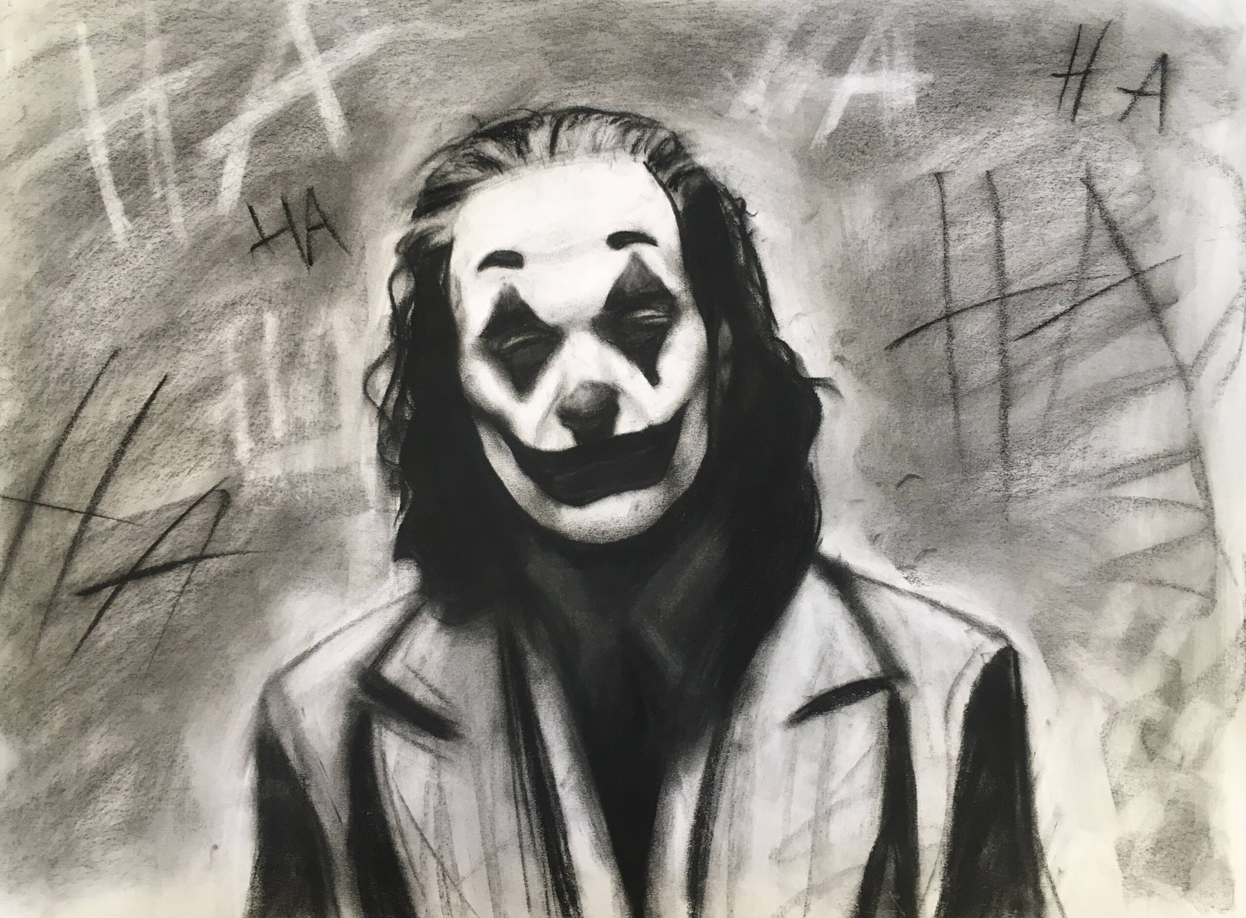 joker drawing with charcoals and other media
