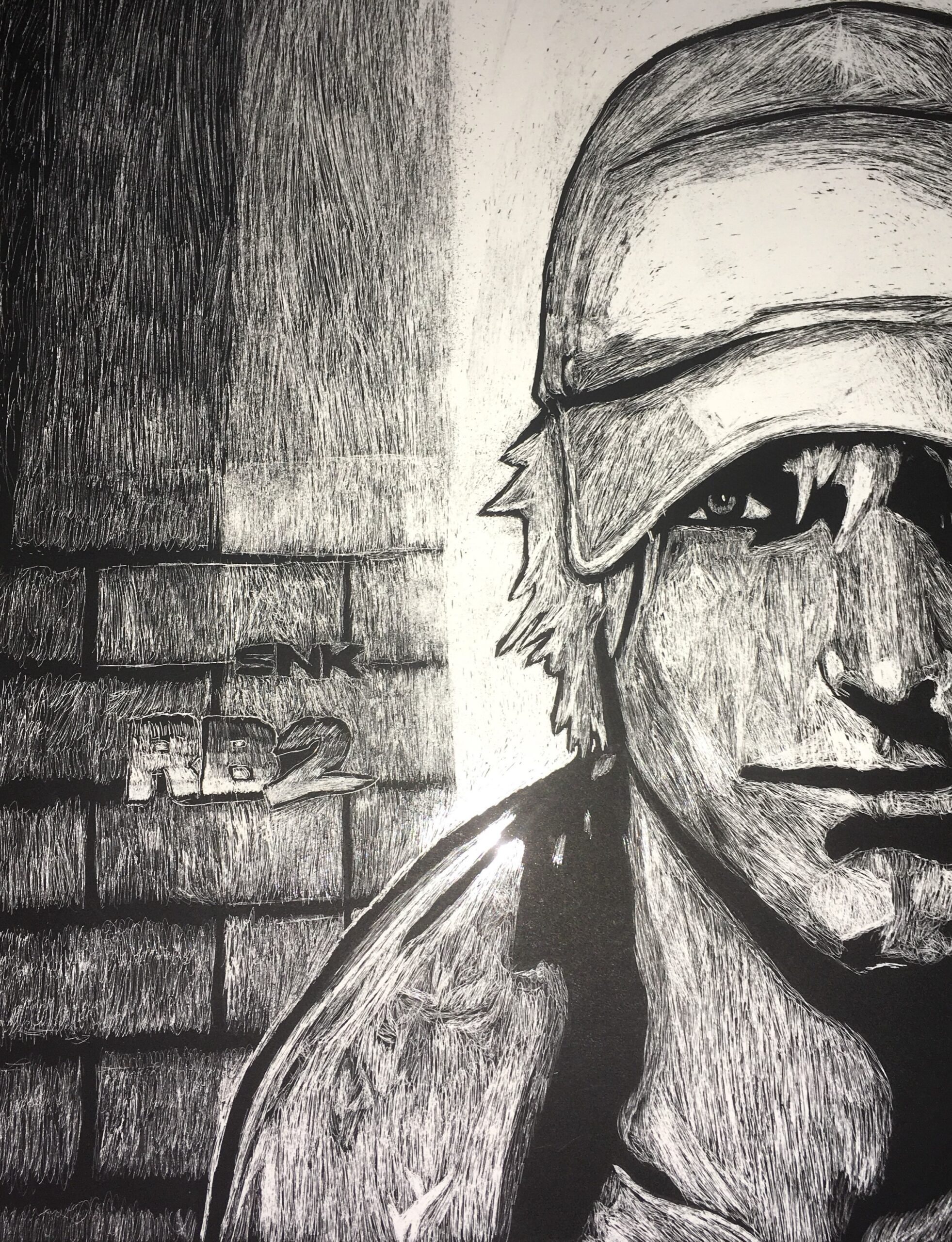 charcoal and mixed media drawing of boy wearing cap