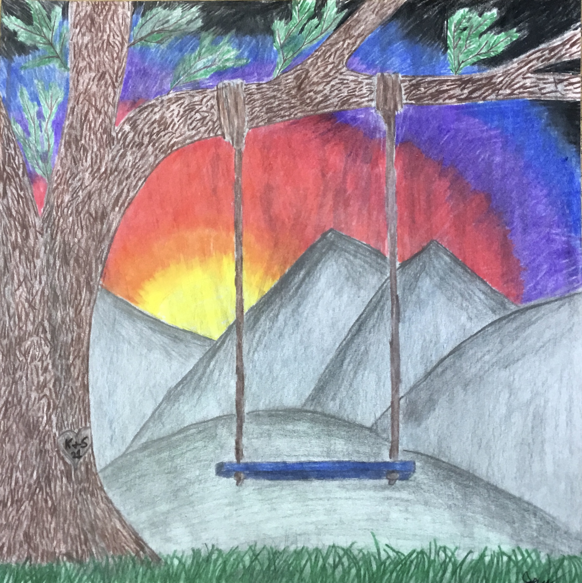 swing in front of sunset drawing