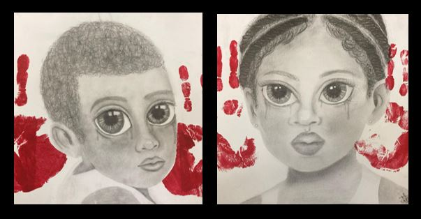 Drawing of two children with large eyes