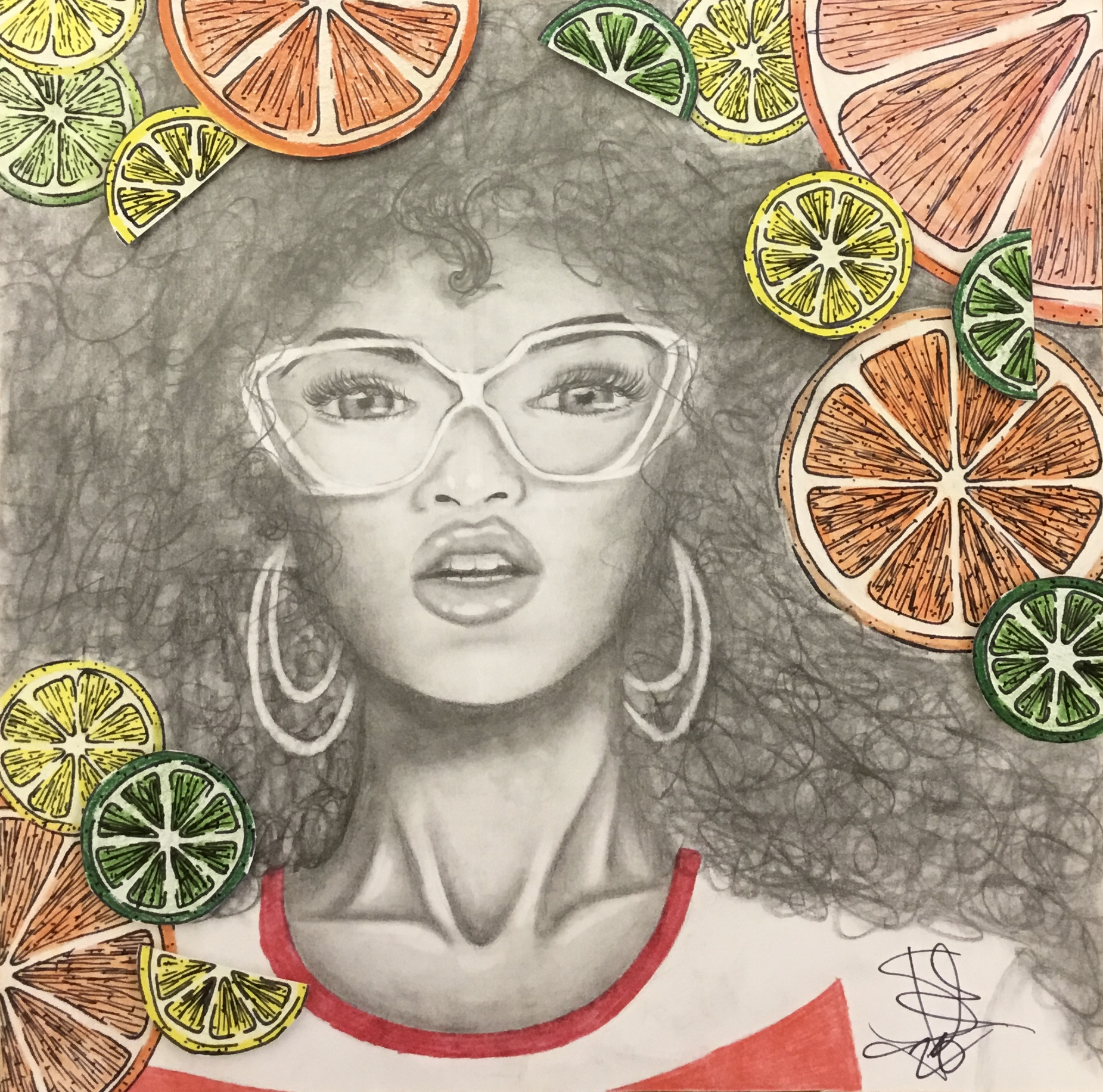 charcoal drawing of face surrounded by orange slices