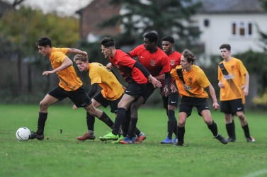 Shenfield High School v Barking Abbey School in a English Schools Football Association Under 18 Boys Elite Schools & Colleges Cup Final Round Three match at Shenfield High School on Monday 10th December 2018 (c) Garry Griffiths | ThreeFiveThree Photography