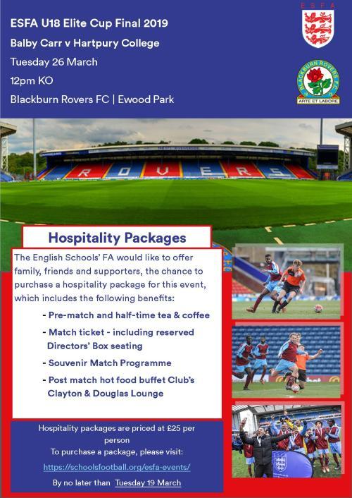 U18 Elite Cup Hospitality Advert