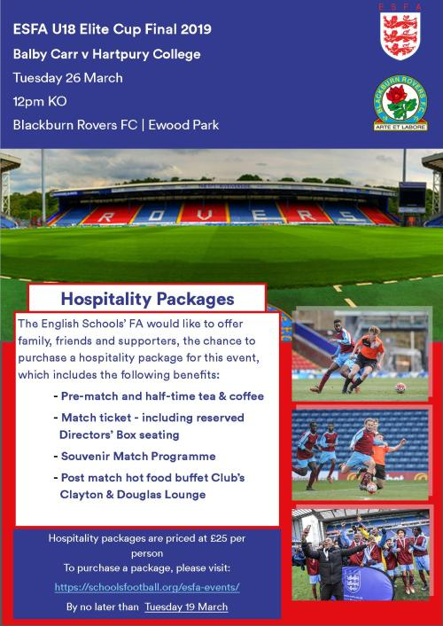 U18 Elite Cup Hospitality Advert