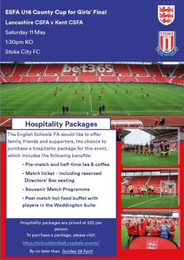 U16 County Cup for Girls Hospitality Ad