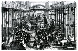 Illustration of a factory. 1868. The heart of the Industrial Revolution