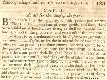 1601 Elizabethan Poor Law