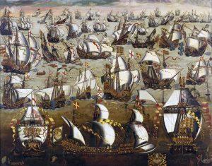 Spanish Armada. 16th Century painting