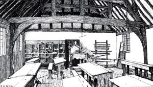 Artists impression of Shakespeare's first Grammar School. Illustrative of Formal school settings in Elizabethan England