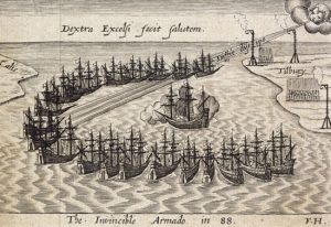 The Spanish Armada depicted in crescent formation