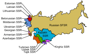 Map showing Russia and the Soviet Socialist Republics that formed the USSR