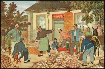 Land Reform Poster. Showing the benefits of Communist Rule