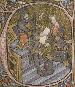 Edward III granting his son, Edward the Black Prince, lands in Aquitaine. c1390