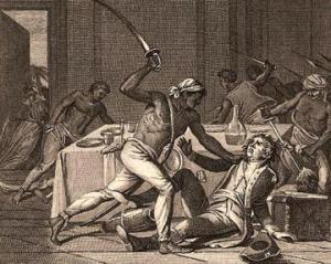 Slave resistance took several forms. Here Slaves are shown in violent rebellion. Other methods or resistance were passive.