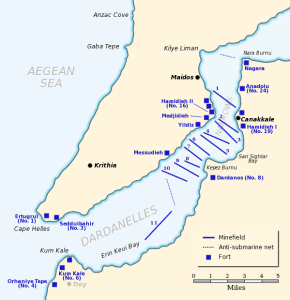 Naval defences in the Dardanelles, 1915