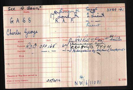 Charles George Gass Observer Gunner First World War Ace