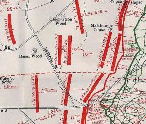 Map outlining the positions of the Bradford Pals at the start of the Somme Offensive
