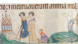 Pilgrims and the Blind. From the Luttrell Psalter