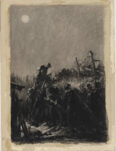 Night Raid. Artwork depicting men setting out on a Trench Raid.
