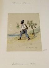 Le citoyen, encre et aquarelle de Mortier de Trévise, Hippolyte Charles Napoléon (1835-1892) . 19x13,6 ADR. 1865.