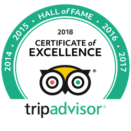 2018 Certificate of Excellence Travellers' Choice badge award