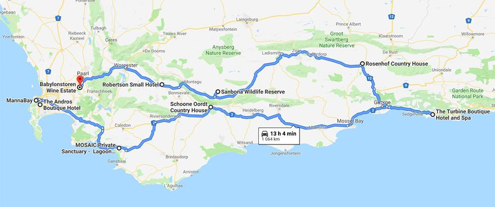 Circular route starts at MannaBay on to The Andros Boutique Hotel, MOSAIC Private Sanctuary and Schoone Oordt Country House. From there you travel to The Turbine Boutique Hotel and Spa, Rosenhof Country House, Sanbona Wildlife Reserve, Robertson Small Hotel and end at Babylonstoren