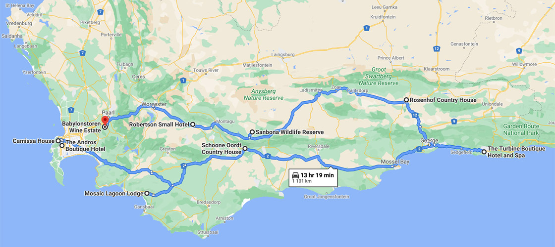 Circular route starts at Camissa House on to The Andros Boutique Hotel, MOSAIC Private Sanctuary and Schoone Oordt Country House. From there you travel to The Turbine Boutique Hotel and Spa, Rosenhof Country House, Sanbona Wildlife Reserve, Robertson Small Hotel and end at Babylonstoren