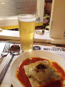 Session Ale & pumpkin, tofu and pesto filled ravioli with lemon rind and sourdough crumble. Damn, girl!