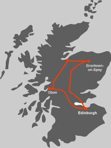 Hier finden Sie die Route unserer Whiskyreise Whisky ABC in Schottland.