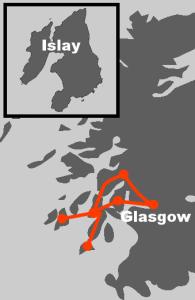 Hier finden Sie die Route unserer Whiskyreise Islay, Jura und Kintyre.