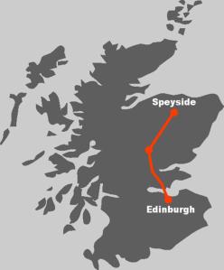 Hier finden Sie die Route unserer Whiskyreise in die Speyside.