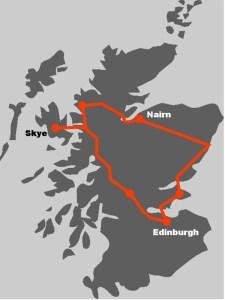 Die Karte zeigt, wie unsere Klassiker Rundreise durch Schottland verlaeuft.