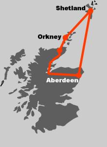 Hier finden Sie die Route zu unserer Rundreise Shetland und Orkney.