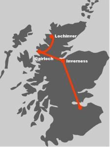 Hier finden Sie die Route unserer individuellen Wanderreise nach Assynt.