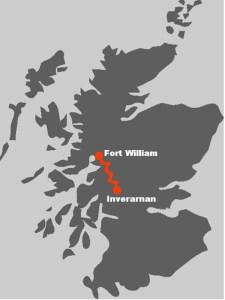 Den Routenverlauf der 7 taegigen Wanderreise von Inverarnan nach Fort William.