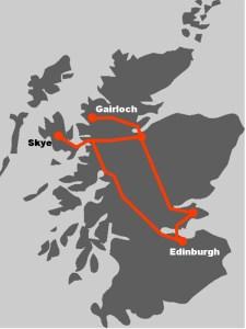 Werfen Sie einen Blick auf die Route um zu sehen, wohin die Genussreise in Schottland fuehrt.