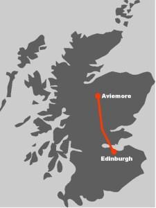 Hier finden Sie die Route zur Familienreise im Cairngorm Nationalpark.