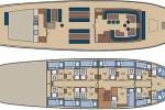 Der Schiffsplan der Flying Dutchman, einem Segelschiff welches auf Segelreisen Schottland umsegelt, schafft einen sehr guten Überblick über das Schiff.