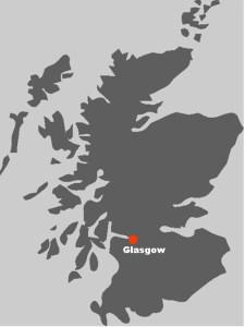 Die Karte zeigt Ihnen, wo in Schottland die Stadtfuehrungen in Glasgow stattfinden.