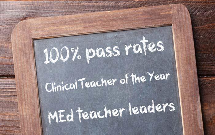 Education Programs 100% pass rates, Clinical Teacher of the Year, MEd teacher leaders