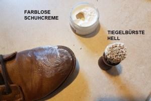 farblose Schuhcreme auftragen