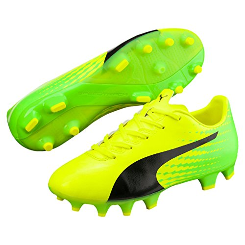 Puma Unisex-Kinder evoSPEED 17.4 FG Jr Fußballschuhe, Gelb (Safety Yellow Black-Green Gecko 01), 33 EU